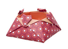 Red Paper Origami Love Box, gift boxes isolated Stock Images