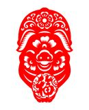 Red paper pig zodiac hold Chinese word mean Good Fortune in circle sign vector design Royalty Free Stock Photo
