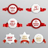 Red Paper Sale Labels Stock Images