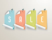 Red paper sale stickers on white background. Stock Photo
