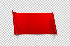 Red paper sheet with curled edges isolated on transparent background. Vector design element. stock photos