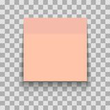 Red Paper sheet on translucent sticky tape with shadow. Empty note template for your design. Vector illustration. stock illustration