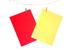 Red paper sheet and yellow Stock Photos
