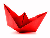 Red paper ship, origami sail boat isolated on white background Stock Photo