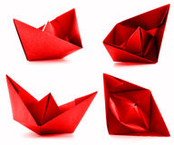 Red paper ship photoset, origami collection isolated on white background Stock Photography