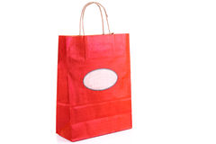 Red paper shopping bag isolated. Shopping concept. Royalty Free Stock Photography