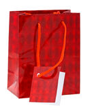 Red paper shopping bag on white Royalty Free Stock Photo