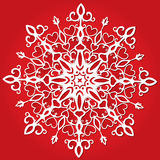 Red paper snowflakes. Elegant pape snowflake on red background Royalty Free Stock Photo