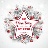 Merry Christmas Frozen Twigs Snowfall Baubles Star Royalty Free Stock Photo