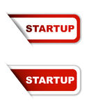 Red  paper sticker startup two version Stock Photos