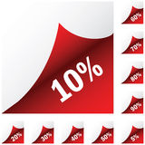 Red paper stickers with discount Royalty Free Stock Photo