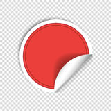 Red paper stickers on transparent background. Round sticker labels stamp. Vecror Royalty Free Stock Image