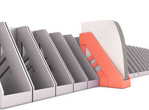 Red paper tray stands out among the gray paper trays stock illustration