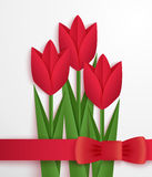 Red paper tulips card Royalty Free Stock Photography