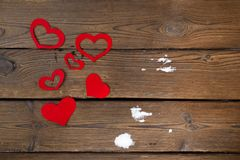 Red paper Valentine hearts on wooden background. Valentine`s day gift. Red paper Valentine hearts on dark wooden background. Valentine`s day gift royalty free stock photos