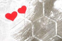 Red paper Valentine hearts on snow. Valentine`s day gift. Red paper Valentine hearts on white snow. Valentine`s day gift stock image