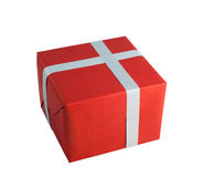 Red paper wrap gray cross gift box present christmas birthday isolated background Stock Photography