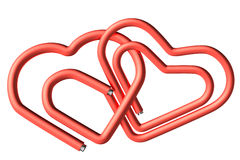 Red paperclips heart couple Stock Image