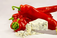 Red papper and cheese Stock Photos