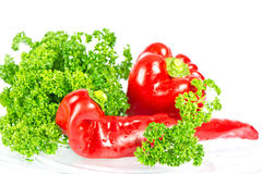 Red paprica with green parsley Royalty Free Stock Photo
