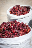 Red paprica in traditional vegetable market in Morocco Stock Photography