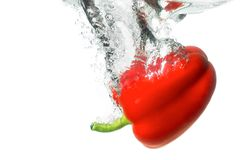 Red paprika. Juicy ripe red paprika with a nice splash falling into the clear water. Healthy natural vegetable food and vegetarian concept royalty free stock photos