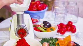 Red Paprika Mash Preparation With Help of Mincing stock footage