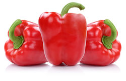 Red paprika paprikas vegetable isolated on white Royalty Free Stock Photo