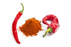 Red paprika pepper with chili peppers  on white Royalty Free Stock Photo