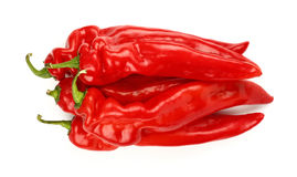 Red paprika peppers close up isolated on white Stock Photography
