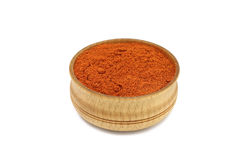 Red paprika powder in a wooden bowl Royalty Free Stock Photography