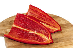 Red paprika sliced on half Royalty Free Stock Photo