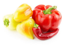 Red paprika, yellow peppers and chili pepper Royalty Free Stock Image
