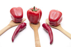 Red paprikas and tomato Royalty Free Stock Images