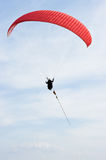 Red paraglider. On the rope Stock Photos