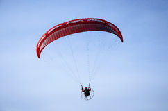 Red paraglider Stock Photography