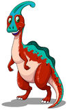 Red parasaurolophus  standing on two legs Royalty Free Stock Image