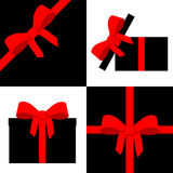 Red parcel collection with ribbon Royalty Free Stock Photos