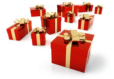 Red parcels with golden ribbon Stock Images