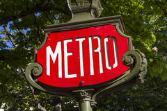 Red Paris Metro subway sign closeup Royalty Free Stock Images