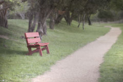 Red Park Bench Stock Images