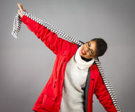 With Red Parka and Striped Scarf Stock Image