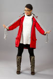With Red Parka and Striped Scarf royalty free stock photo