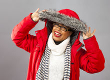 With Red Parka and Striped Scarf Royalty Free Stock Photos
