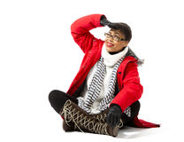 With Red Parka and Striped Scarf Stock Photo