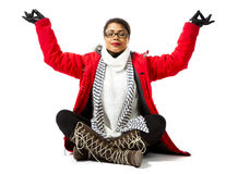 With Red Parka and Striped Scarf royalty free stock photography