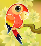 Red parrot on tree. Vector illustration of a red parrot on tree Stock Photography