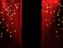 Red PartedTheater Curtains Stock Photo