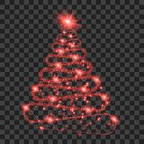 Red particle wave in form of christmas tree. With bright shining and glowind particles  on transparent background. Glitter bright trail, glowing wave vector Royalty Free Stock Image