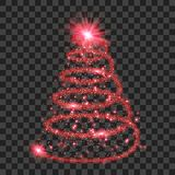 Red particle wave in form of christmas tree. With bright shining and glowind particles isolated on transparent background. Glitter bright trail, glowing wave stock illustration